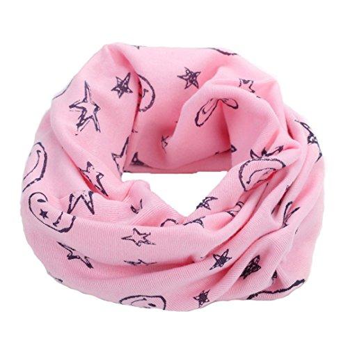 OVERDOSE Neue Multicolor Kinder Baby Mädchen Jungen Warme Baumwolle Schal Winter Halstuch Tücher Rundschal Mit Smiley Sterne,A-Pink 1