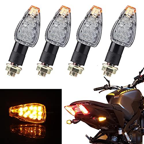 JMTBNO 4pcs LED Intermitentes Moto Indicadores de Motocicleta Señal de Giro Homologados Mini Luz Ambar Delantera y Trasera M10 Universal 12V para Cruiser Scooter Quad Off Road