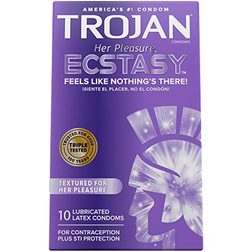 Trojan Her Pleasure Ecstasy Lubricated Condoms - 10 Count (Packaging May Vary)