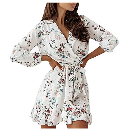 Elegantes Damen-Kleid Curvy Mini-Kleid mit Volantärmel und langen Ärmeln, bedruckt, modisch, mit Schnürsenkeln, beige, Large