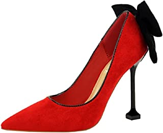 THE LONDON STORE Women's Red & Pink Velvet Pointed Bow Pumps