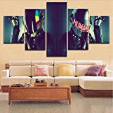 Wuwenw Top-Rated 5 Panels Hd Printing Canvas Painting 5 Pieces Daft Punk Style Music Type Poster For Modern Decor Living Room Framework,16X24/32/40Inch,Without Frame