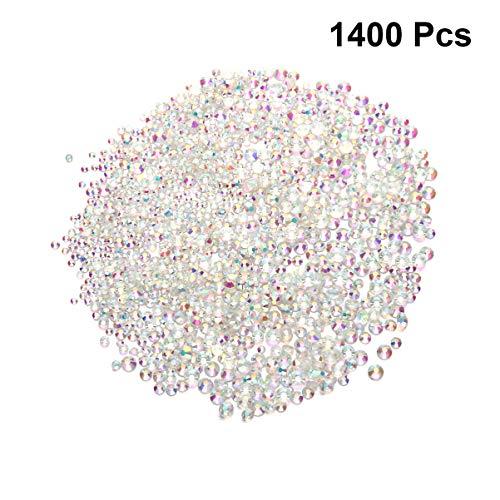 Healifty Lot de 1400 perles en verre à dos plat pour nail art, maquillage, vêtements, chaussures, décoration, verre, Ab Color, Size 1