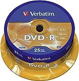 Verbatim DVD-R - 4.7 GB, 16-fache Brenngeschwindigkeit mit langer Lebensdauer und Kratzschutz, 25er Pack Spindel, mattsilber
