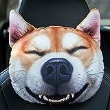 Wusuowei Reposacabezas para el cuello del coche de la cara del perro, almohada de apoyo lumbar, almohada lavable de la cintura almohada desmontable del resto de la cama del rollo