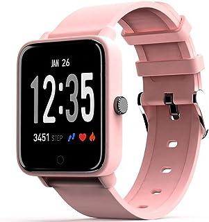 LTLJX Reloj Inteligente HR Health Watch Fitness Pulsera Monitor de Ritmo Cardíaco Reloj Deportivo 1.3'' Pantalla Color Presión Arterial Alarma Vibración para Hombres, Mujeres Niños,Rosado