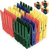 Deuba Wäscheklammern 200 Stück Kunststoff Extra Starke Feder mit Verzinktem Stahldraht Witterungsbeständig in 4 Farben