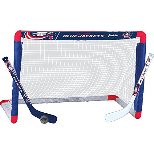 Franklin Sports NHL Team Lizenzprodukt Knie-Hockey-Set – inkl. 2 Mini Hockey Sticks und One Schaum Mini Hockey Ball, Unisex, Columbus Blue Jackets