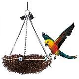ペットの鳥の巣、籐の鳥のオウムのわらの巣のスイングハンギンググッズ、鐘のおもちゃ(27*12cm)