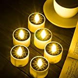 SoulBay 6pcs Solar Power Tea Lights Outdoor Candle Flameless Flicker IP65 Waterproof Rechargeable LED Candles with Dusk to Dawn Sensor for Lantern Garden Camping Party Home Decorations, 2.3' x 2'