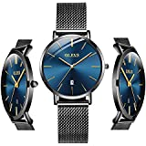 OLEVS Ladies Ultra Thin Watch Women Blue Dial Watches for Women Waterproof Inexpensive Minimalist Watches with Stainless Steel Date Women Analog Quartz Watch for Christmas