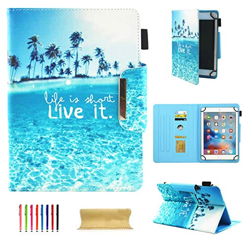 8 Inch Tablet Universal Case, UGOcase PU Leather Slim Fit Kickstand Folio Wallet Case Cover for iPad Mini, Samsung Galaxy Tab A/E/3 8.0, F i r e Hd 8, Nexus, HP, 7.5'-8.5' Tablet, Live it