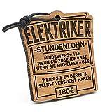 Fashionalarm Schlüsselanhänger Stundenlohn Elektriker aus Holz mit Gravur | Lustige Geschenk Idee Elektroinstallateur Elektroplaner Beruf Arbeit