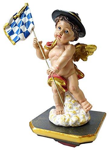 Kaltner Präsente Geschenkidee - Deko Figur Engel mit Flagge Fahne Bayern auf Wandkonsole Podest