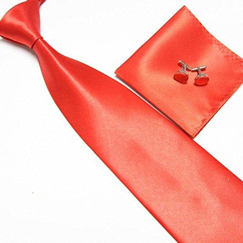 Cravate + Pochette + Bouton de Manchettes Satinée - Rouge - Neuf