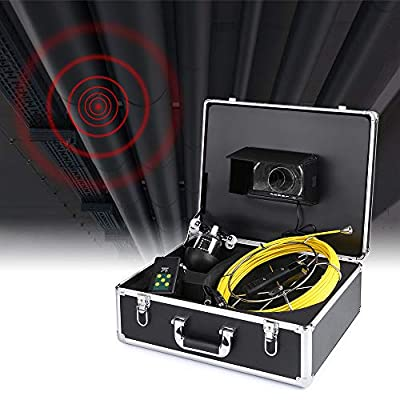 """Godyluck 20M Pipe Sewer Inspection Camera Waterproof 360 Degree Rotating Inspection Camera System 7"""" Screen 18 Night Vision LEDs with Guide Wheel for 150mm Pipelines"""