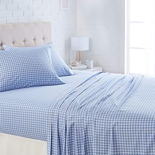 AmazonBasics Lightweight Super Soft Easy Care Microfiber Bed Sheet Set with 16' Deep Pockets - Queen, Light Blue Gingham