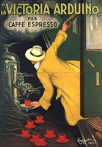 """LA VICTORIA ARDUINO PER CAFFE ESPRESSO COFFE MACHINE TRAIN TRAVELER ITALY CAPPIELLO 16"""" X 24"""" IMAGE SIZE VINTAGE POSTER REPRO"""