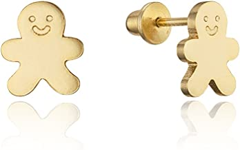 14k Gold Plated Brass Gingerbread Man Screwback Baby Girls Earrings with Sterling Silver Post