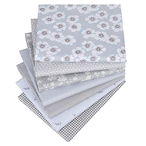Hanjunzhao Quilting Fabric,Grey Fat Quarters Fabric Bundles,100% Cotton Fabric for Sewing Crafting,Print Floral Striped Polka Dot Gingham Fabric,18' x 22'(Grey)