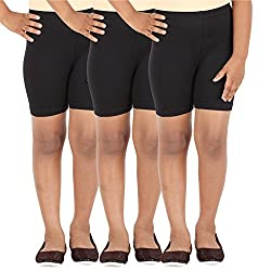 Lula School Girls Spandex Shorts, Pack of 3