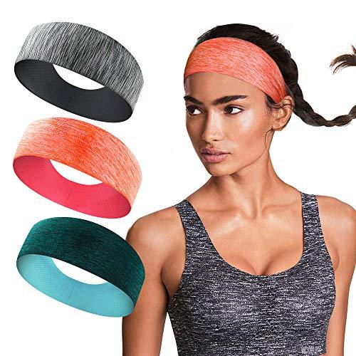 isnowood Sport Workout Athletic Yoga Moisture Wicking Headband Sweatband Trendy Stylish Headscarf fits