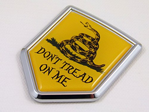 Don't Tread on me Shield Flag Car Chrome Emblem Decal Bumper Sticker