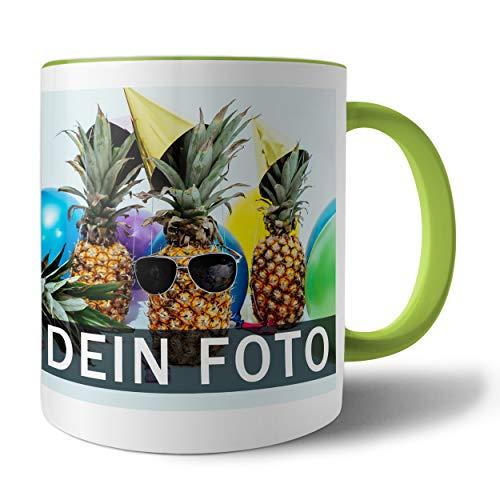 Tasse mit persönlichem Foto und Text zum selbst gestalten (Fototasse, Kaffeebecher mit individuellem Druck, Farbiger Henkel und Trinkrand, mit personalisierbarem Foto, spülmaschinenfest), hellgrün