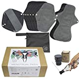 CuloClean 10pcs (2S+6M+2L) Compresas Menstruales Reutilizables de fibra de bambú. Pack ecológico, de tela transpirable e impermeable + bolsa + bidet portátil