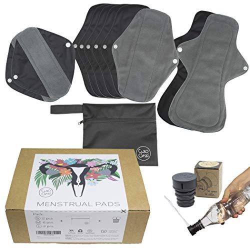 CuloClean 10er pack (2S+6M+2L) Waschbare Damenbinden mit Flügeln aus Bambusfaser. Wiederverwendbare Binden aus atmungsaktivem und wasserdichtem Stoff + Reisebeutel + Po Dusche