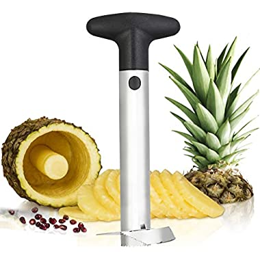 ChefLand Stainless Steel Pineapple Corer | All in One Pineapple Tool, Peeler, Slicer and Cutter | Non Slip Detachable Handle, Sharp Blades, Easy To Use Core Remover Tool, Easy to Clean