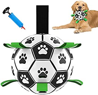 Dog Soccer Ball with Grab Tabs, for Medium to Small Dogs. Interactive Indoor and Outdoor Dog Toy That Floats in Water. Com...