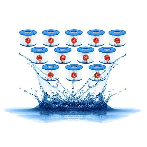 Denkmsd Filterpatroon voor Intex type S1, reservepatroon S1 voor Intex 29001E, voor Jacuzzi-filter S1, zwembadfilter voor tuin en buiten, voor Intex 2900 (12 stuks)
