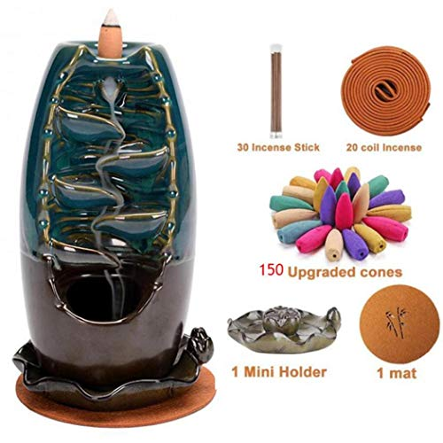 Ceramic Backflow Incense Burner Backflow Incense Holder Smoke Waterfall for Aromatherapy Ornament Office Home Decor Blue Gift Set with 150 Backflow Incense Cones, 30 Incense Stick, 20 Coil Incense