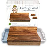 Cutting Board with Containers - Organic Acacia Wood Cutting Boards for Kitchen - Chopping Board - Butcher Block with White Pale Blue Trays