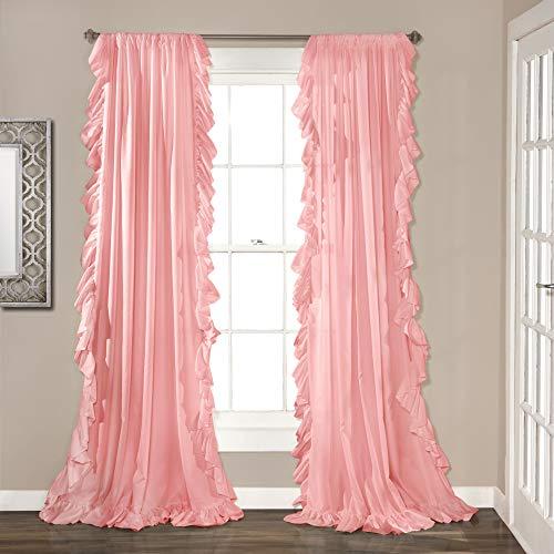 "Lush Decor Reyna Window Curtain Panel Pair, 84"" x 54"", Pink"