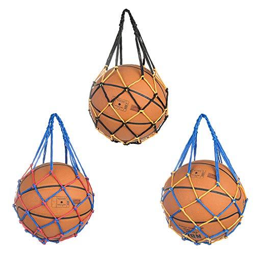 Comius Sharp Bolso de Malla para Balón de Baloncesto 3 Piezas Bolsa de Malla Tejida a Mano Bolsa de Red de Fútbol Portátil, Multifuncional, para Pelota Deportiva, Frutas y Verduras, Ligero, Cómodo.