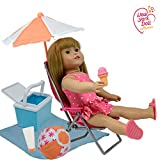 18 Inch Dolls Beach Set - Fits American Girl Doll Accessories - Doll Beach Chair and Fun Doll Stuff for 18in Dolls 7 Pc Playset