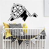 Catena montuosa con bussola Vivaio Camera da letto per bambini Adesivo murale per ragazzi Arte in vinile Poster rimovibile Decorazione murale 57 * 91 cm