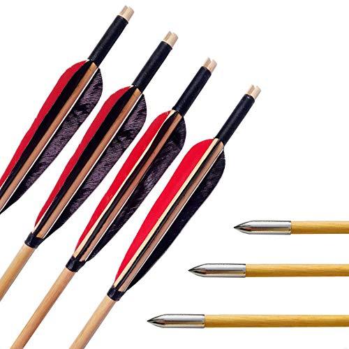 SHARROW 6pcs Flecha de Madera 31 Pulgadas con 5' Flecha Pluma de Pavo Punta de Flecha para Arco Compuesto Recurvo Longbow (Modelo 2)