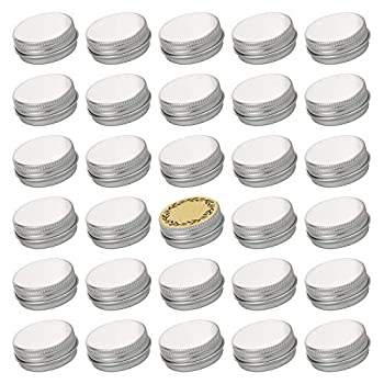 Screw Top Sliver Aluminum Tin Jar with Screw Lid and Blank Labels - 31pcs 0.5 oz
