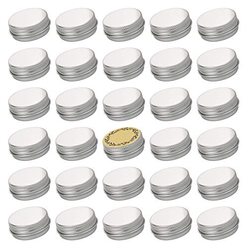 Screw Top Sliver Aluminum Tin Jar with Screw Lid and Blank Labels - 31pcs, 0.5 oz