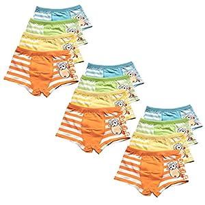 US Sense 12 Pack Bóxers Niño Calzoncillos para Niños Algodón Diseño Bañador Bóxer Ropa Interior Cortos Pantalones 2-11 Años