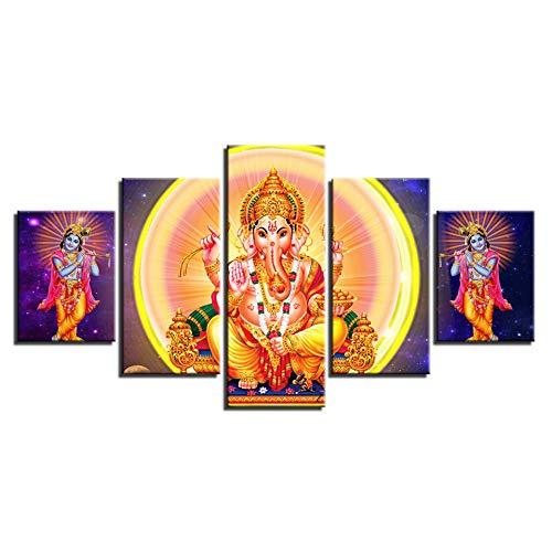 CYZSH Canvas Wall Art Pictures Home Decor 5 Pieces Hindu Lord Ganesha Painting Modular Hd Print Radha Krishna Poster Living Room