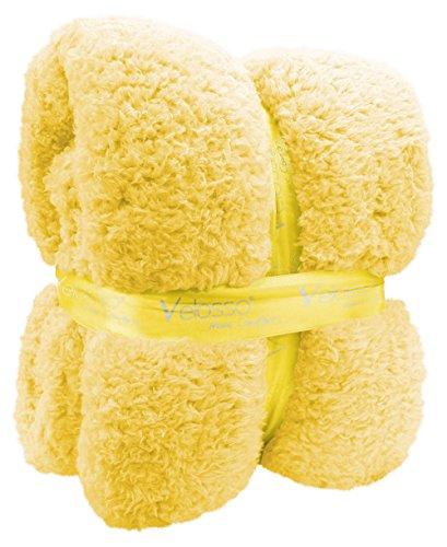 New Large 130 x 180cms Teddy Soft Cuddly Fluffy Plain Throw Bed/Sofa Throwover Blanket (Yellow)
