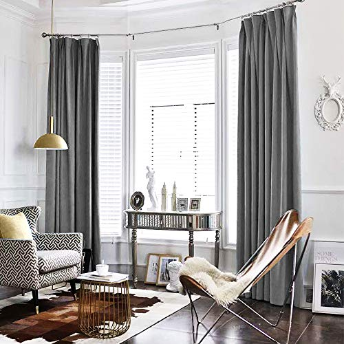 jinchan Velvet Curtain Grey Living Room Rod Pocket Window Curtain Panel 95 inch Long Bedroom Thermal 1 Panel