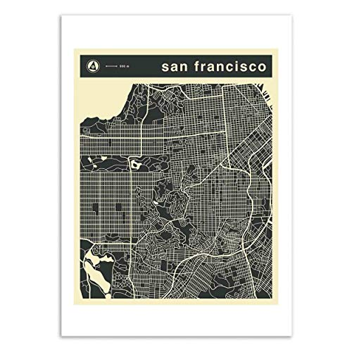 Wall Editions Poster San Francisco Map - Jazzberry Blue