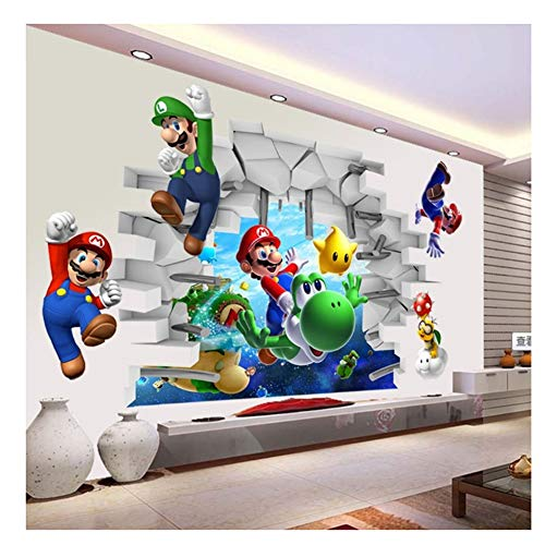 Juegos Super Mario Bros 3D View Art Pegatinas de pared Calcomanías Mural Decoración para el hogar Pegatinas de pared 50x70cm