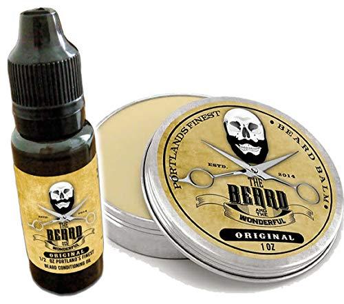 L'Huile de barbe et baume Ensemble de toilettage. 15 ml d'huile de barbe + 30 ml Barbe Baume Conditionneur, Renforcement et la croissance économique Combo à partir de la barbe et le Merveilleux,