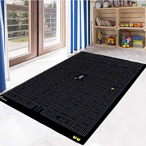 Pacman - Alfombra con motivos para sala de estar, antideslizante, alfombra para habitación de niños, regalo personalizado, alfombra temática gezcocuk-423.4 (140 x 200 cm)